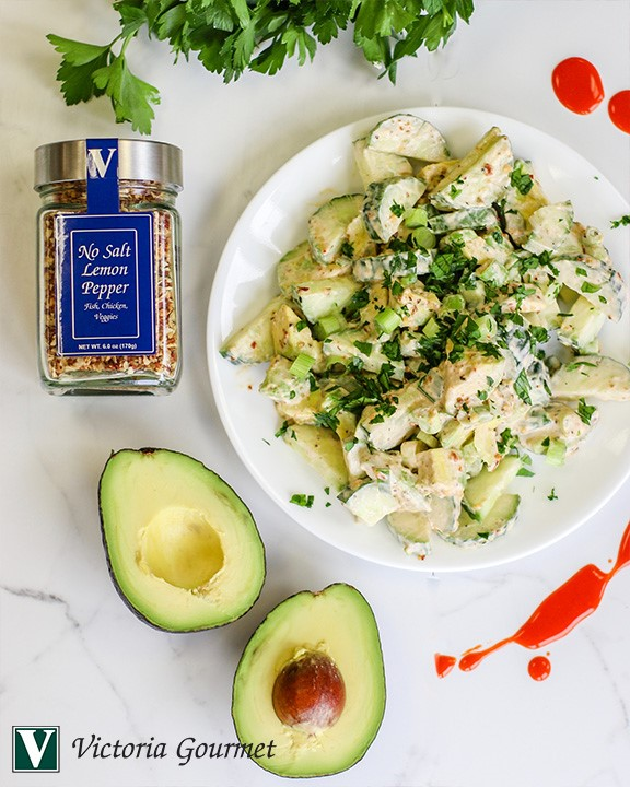 cucumber avocado salad lemon pepper victoria gourmet recipe