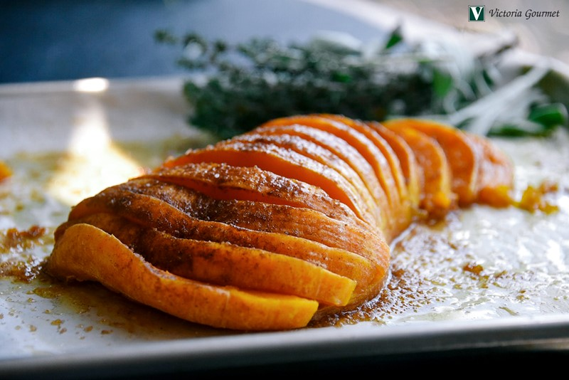 roasted butternut squash honey maple spice sweet tender victoria gourmet recipe