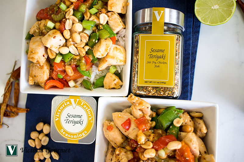 kung pao chicken sesame teriyaki seasoning spices victoria gourmet recipe