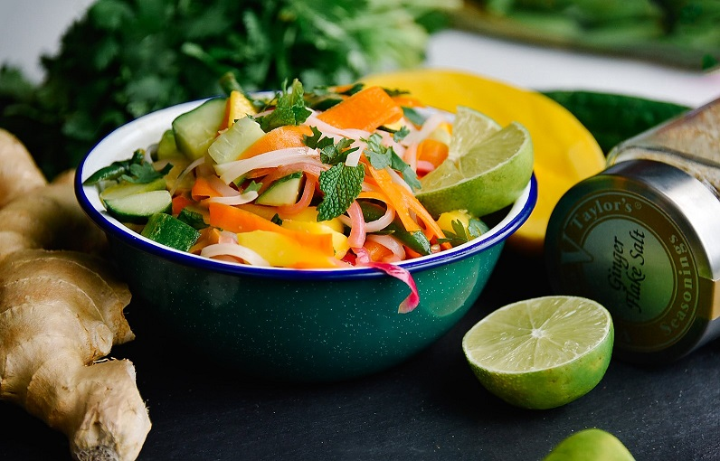 thai mango salad ginger salt spices victoria gourmet recipes