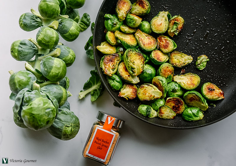 brussel sprout maple bourbon glaze victoria gourmet recipe