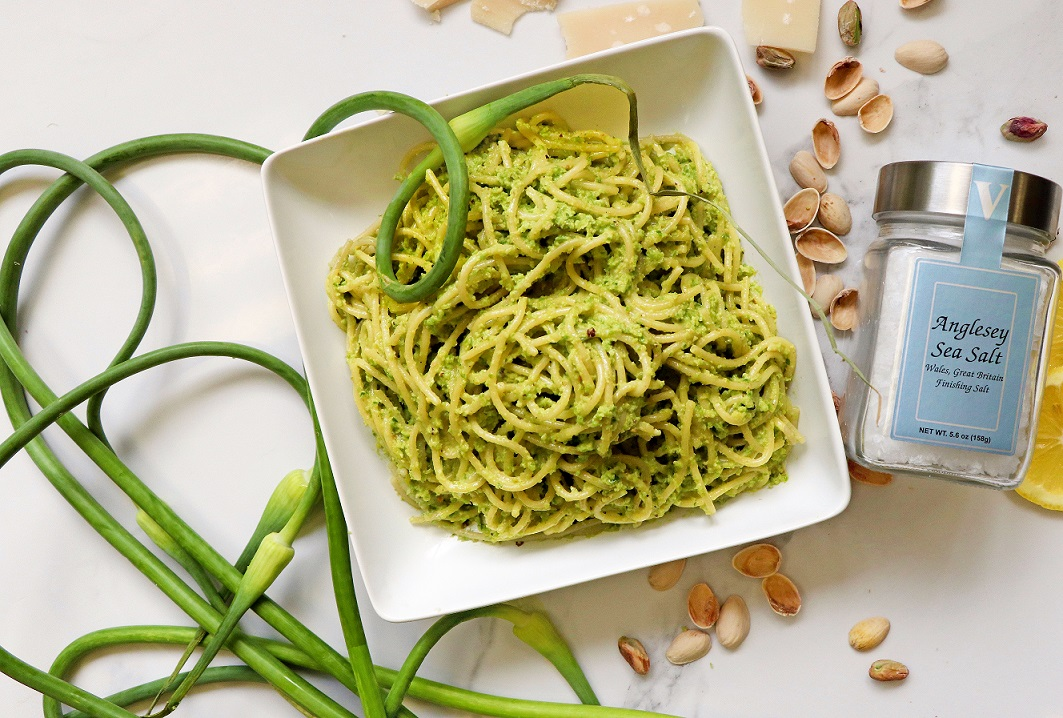 garlic scape pesto anglesey sea salt victoria gourmet recipe