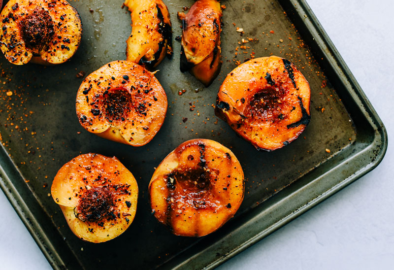 grilled peaches honey aleppo pepper georgia victoria gourmet recipe