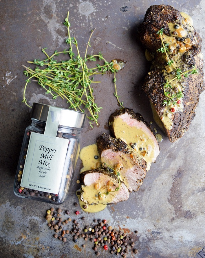 pork au poivre pepper mill mix seasoning victoria gourmet recipe