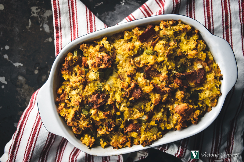 cornmeal bacon stuffing turkey rub victoria gourmet recipe