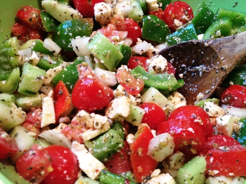 Sicilian Tomato, Cucumber and Feta Salad