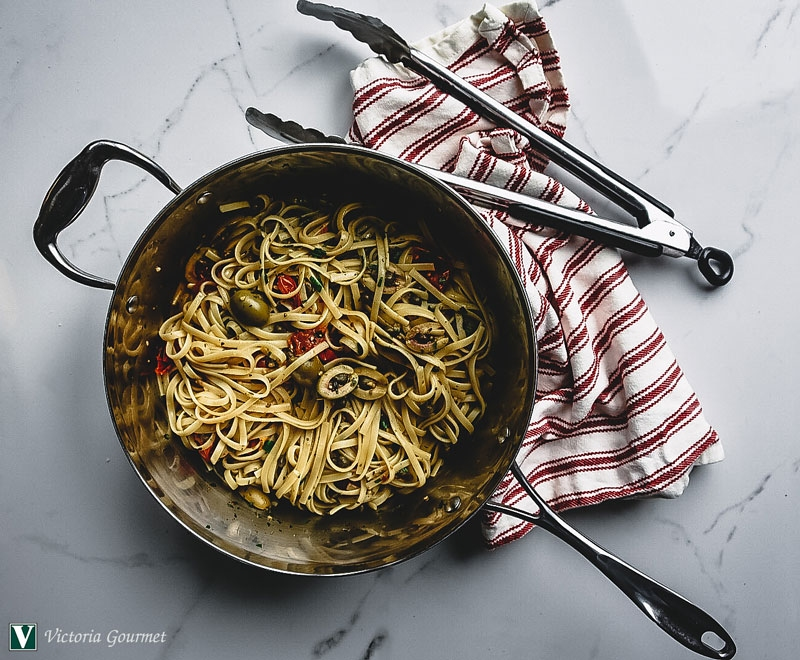 one-pot pasta puttanesca cooked seasoning spice victoria gourmet recipe