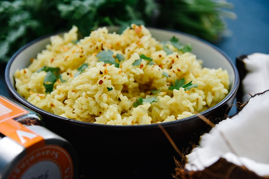 coconut rice turmeric red pepper flakes victoria gourmet recipe