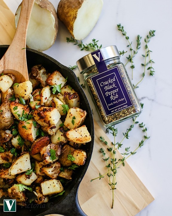 home fries cracked black pepper rub side dish spices victoria gourmet recipe