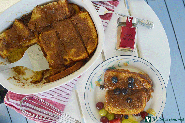 baked french toast apple pie spice cinnamon victoria gourmet recipe