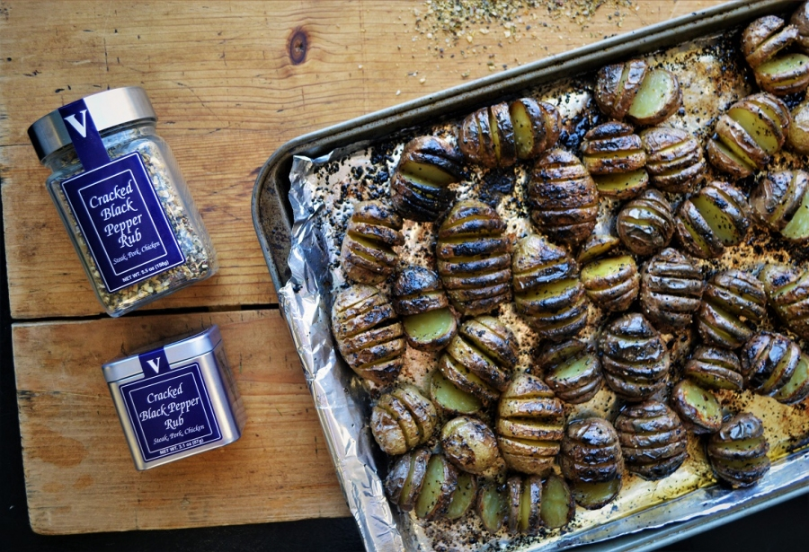 hasselback potatoes cracked black pepper rub spud victoria gourmet recipe