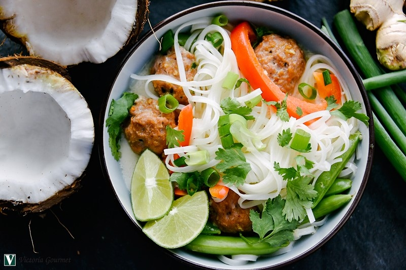 asian meatballs noodles toasted sesame ginger victoria gourmet recipes