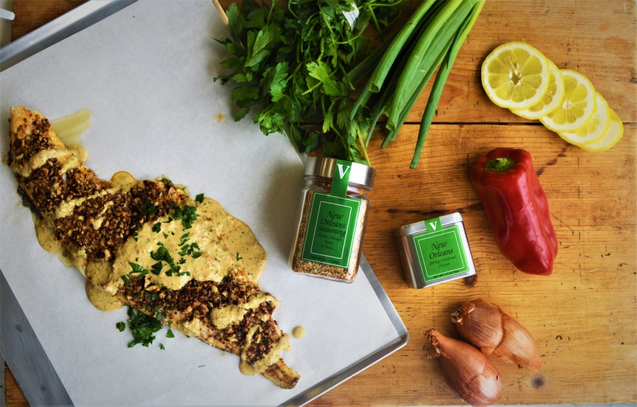 Pecan Crusted White Fish With Remoulade Sauce